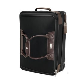 Terni Brown Leather Black Twill Nylon Trolley Bag Imprinted with Your Logo
