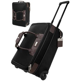 Terni Brown Leather Black Twill Nylon Trolley Bag