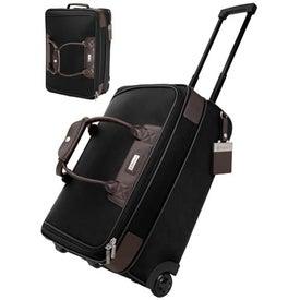 Terni Brown Leather Black Twill Nylon Trolley Bag