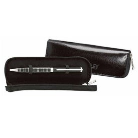 Black Leather Single Case with Felt Lining and Zip