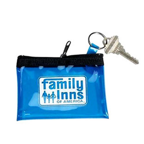 Blue Translucent Vinyl Coin and Key Zippered Pouch