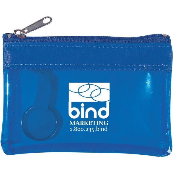 Translucent Blue Translucent Zippered Coin Pouch
