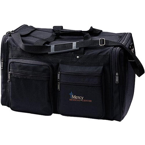 Black Travel Bag with Shoulder Strap and Zipper Compartments