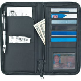 Monogrammed Euro Travel Wallet With Zipper