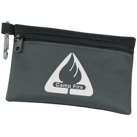 Two Tone Polyester Zip Bag with Carabiner with Your Logo