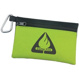 Personalized Two Tone Polyester Zip Bag with Carabiner