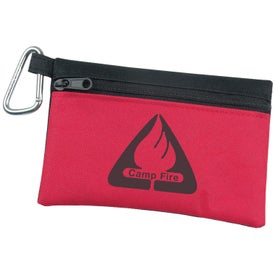 Company Two Tone Polyester Zip Bag with Carabiner
