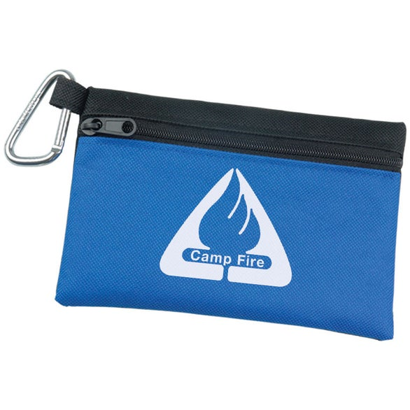 Two Tone Polyester Zip Bag with Carabiner