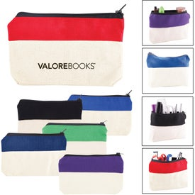 Two-Tone Zip Cotton Valuables and School Supplies Pouch