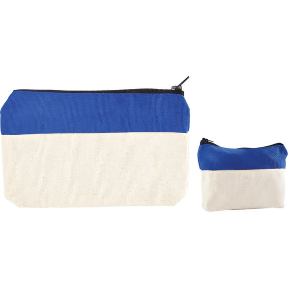 Reflex Blue / Natural Two-Tone Zip Cotton Valuables and School Supplies Pouch