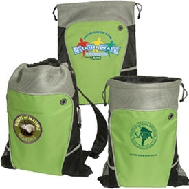 Hiker's Two-Tone Drawstring Backpack Printed with Your Logo