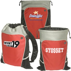 Hiker's Two-Tone Drawstring Backpack Imprinted with Your Logo
