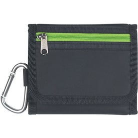 """Velcro Wallet With 2"""" Carabiner with Your Slogan"""
