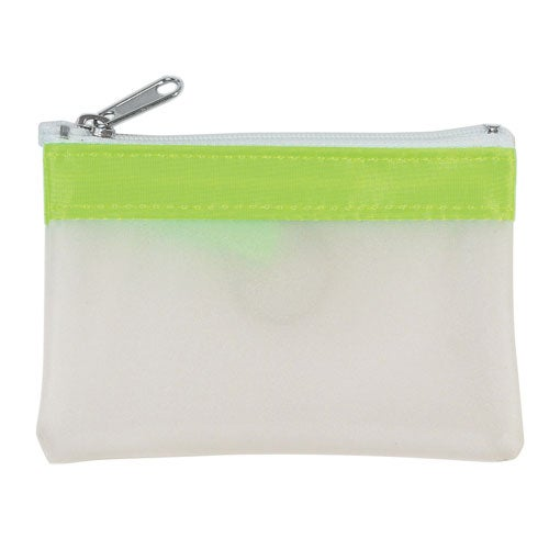 Frosted / Lime Green Zippered Coin Pouch