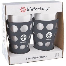 Beverage Glasses with Silicone Sleeve 2 Pack (20 Oz.)