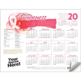 2019 Practice Awareness Adhesive Wall Calendar (Breast Cancer Awareness)
