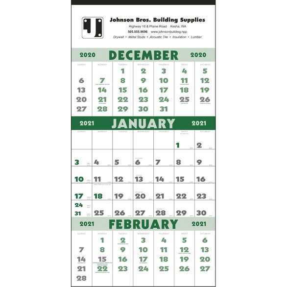 White / Green 3-Month Planner Calendar