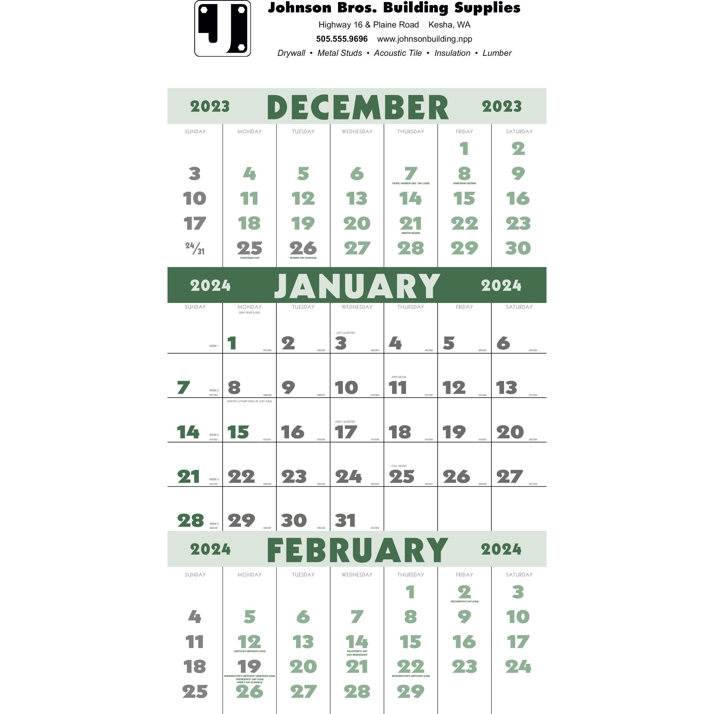 3-Month Planner Calendar (12 Sheet, 2019)