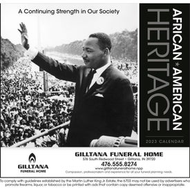African-American Heritage Calendar (MLK Jr., 2019)