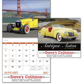 Printed Antique Autos Spiral Calendar