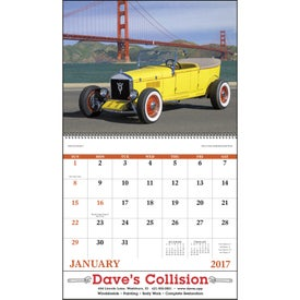Antique Autos Spiral Calendar with Your Slogan