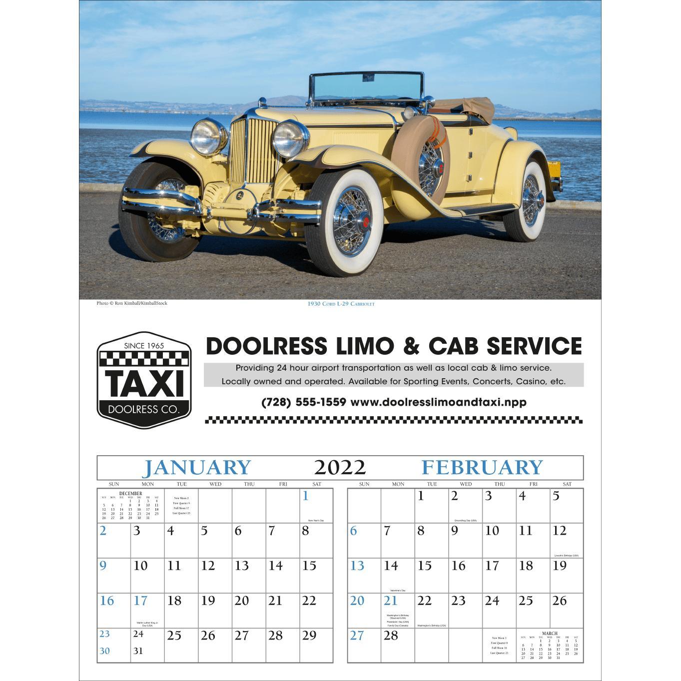Promotional 2019 Antique Cars - Executive Calendars with Custom Logo ...