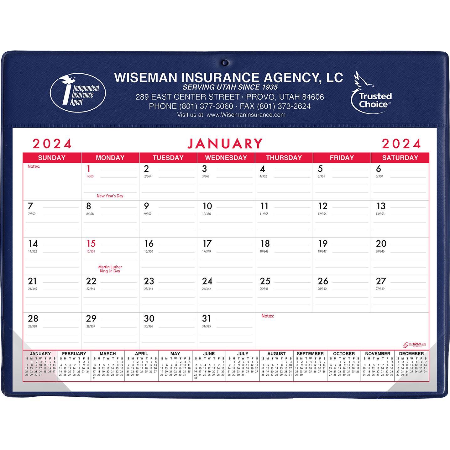 Basic Desk Pad Calendar - Doodle Pad (Stock Colors)