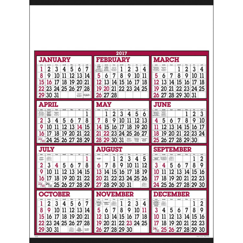 White Big Numbers Span-A-Year Calendar (2017) | Custom Calendars