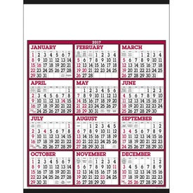 Personalized Burgundy/White Big Numbers Span-A-Year Calendar