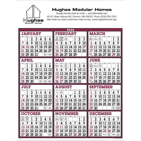 Burgundy/White Big Numbers Span-A-Year Calendar (2015).  Custom Calendars & Day Planners.