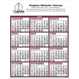 Burgundy/White Big Numbers Span-A-Year Calendar (2020)