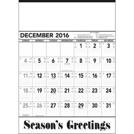 Printed Black and White Contractor Memo Calendar