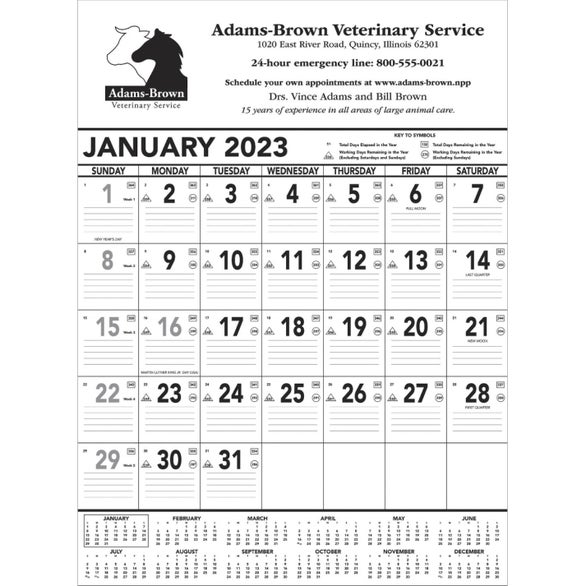 Black and White Contractor Memo Calendar
