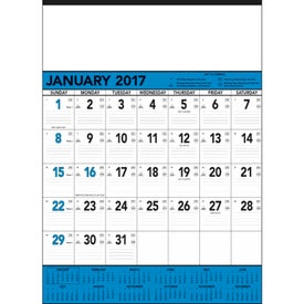 Imprinted Blue and Black Contractors Memo Calendar