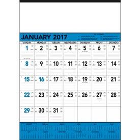 Imprinted Blue and Black Contractors Memo Calendar