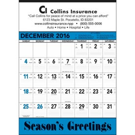 Custom Blue and Black Contractors Memo Calendar