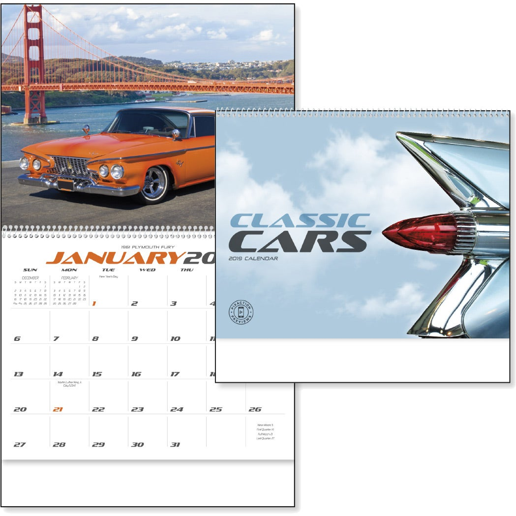 Promotional 2019 Classic Car Calendars with Custom Logo for $1.89 Ea.