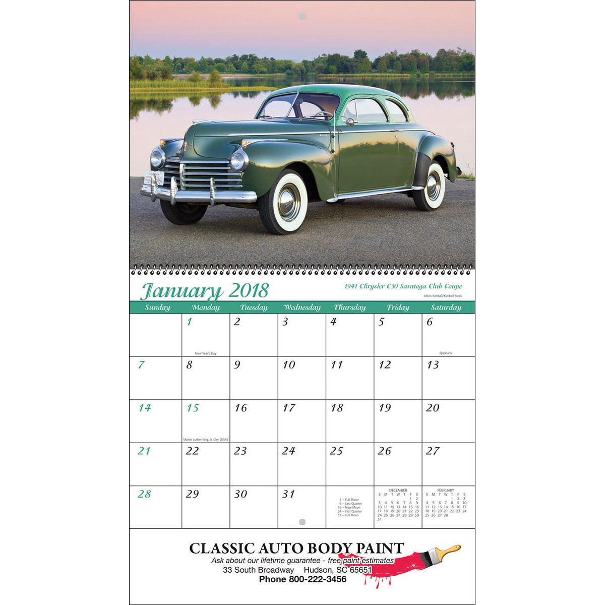 Promotional Spiral Classic Cars Wall Calendars with Custom Logo for ...