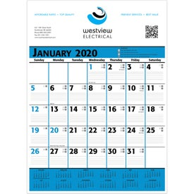 Commercial Planner Wall Calendar (Blue and Black)