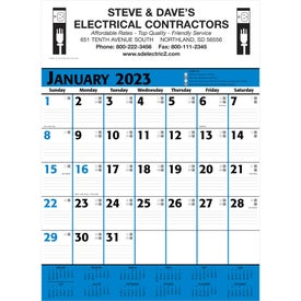 Commercial Planner Wall Calendar (2021, White/Blue/Black)