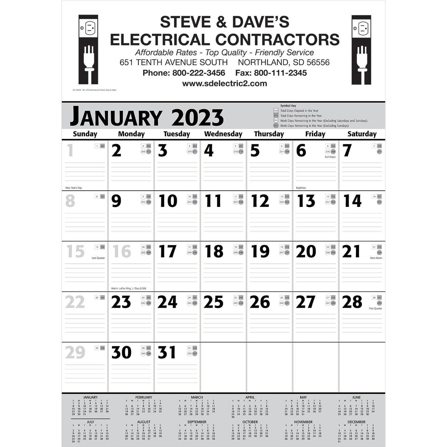 promotional grey and black commercial planner wall calendars with