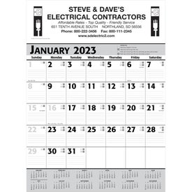 Commercial Planner Wall Calendar (2021, White/Gray/Black)