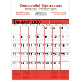 Commercial Planner Wall Calendar (Red and Black)