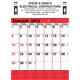 Commercial Planner Wall Calendar (2020, White/Red/Black)