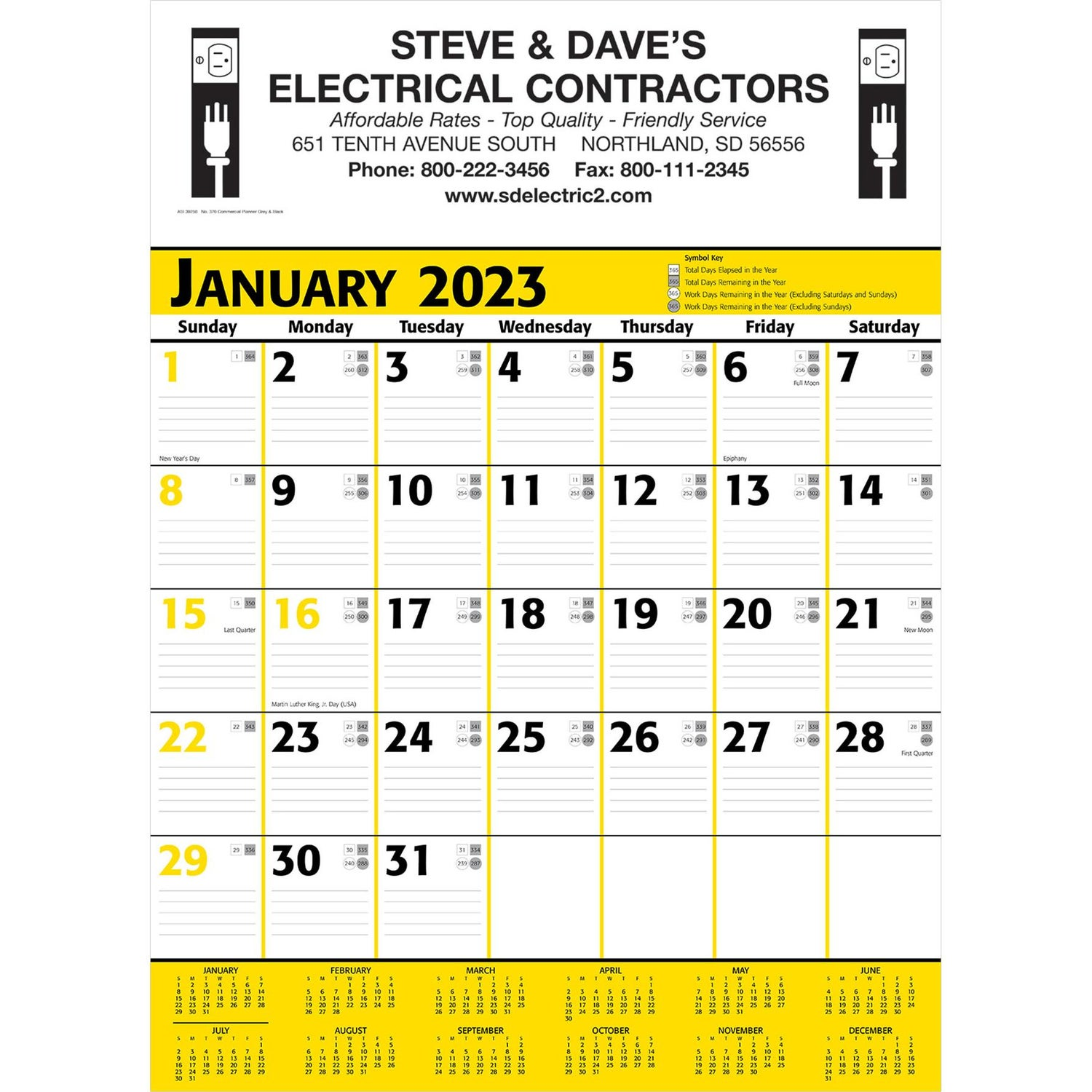 promotional yellow and black commercial planner wall calendars with