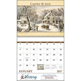 Monogrammed Currier and Ives: Spiral Calendar