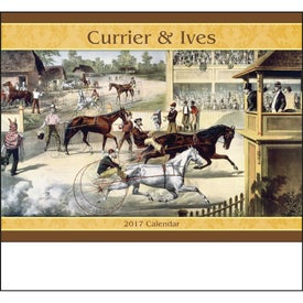 Monogrammed Currier and Ives Stapled Calendar