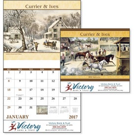 Currier and Ives Stapled Calendar with Your Logo