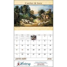 Branded Currier and Ives Stapled Calendar