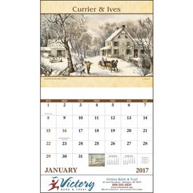 Currier and Ives Stapled Calendar for Advertising